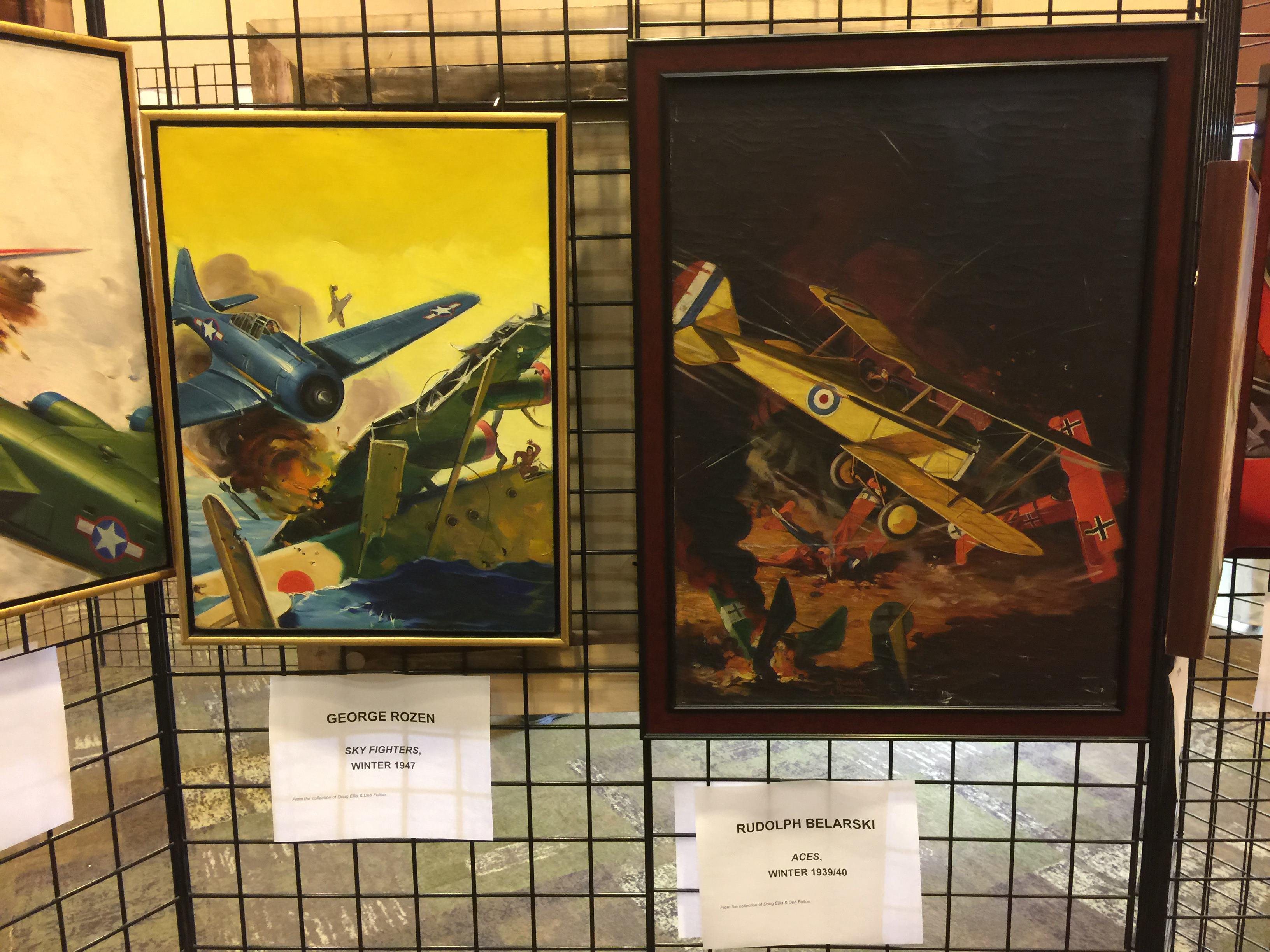 Left: George Rozen cover for Sky Fighters, Winter 1947  Right: Rudolph Belarski cover for Aces, Winter 1939/40